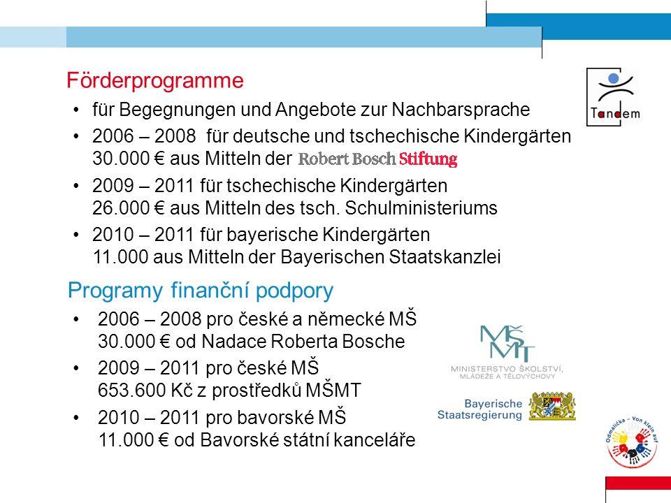 Förderprogramme für Begegnungen und Angebote zur Nachbarsprache 2006 – 2008 für deutsche und tschechische Kindergärten 30.000 aus Mitteln der 2009 – 2