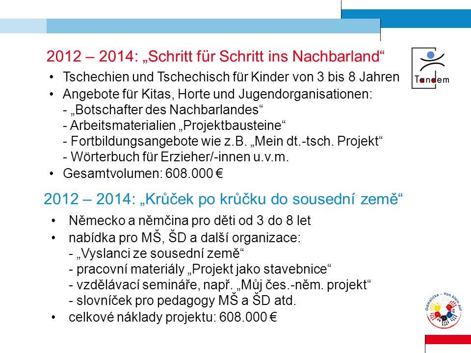 2012 – 2014: Schritt für Schritt ins Nachbarland Tschechien und Tschechisch für Kinder von 3 bis 8 Jahren Angebote für Kitas, Horte und Jugendorganisa