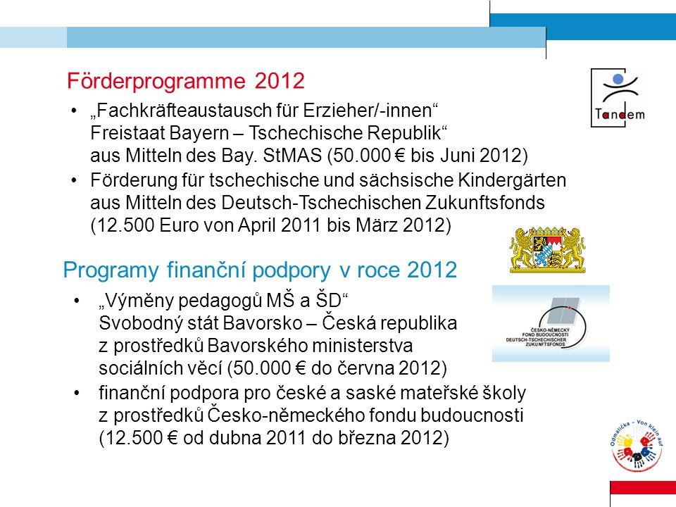 Förderprogramme 2012 Fachkräfteaustausch für Erzieher/-innen Freistaat Bayern – Tschechische Republik aus Mitteln des Bay. StMAS (50.000 bis Juni 2012
