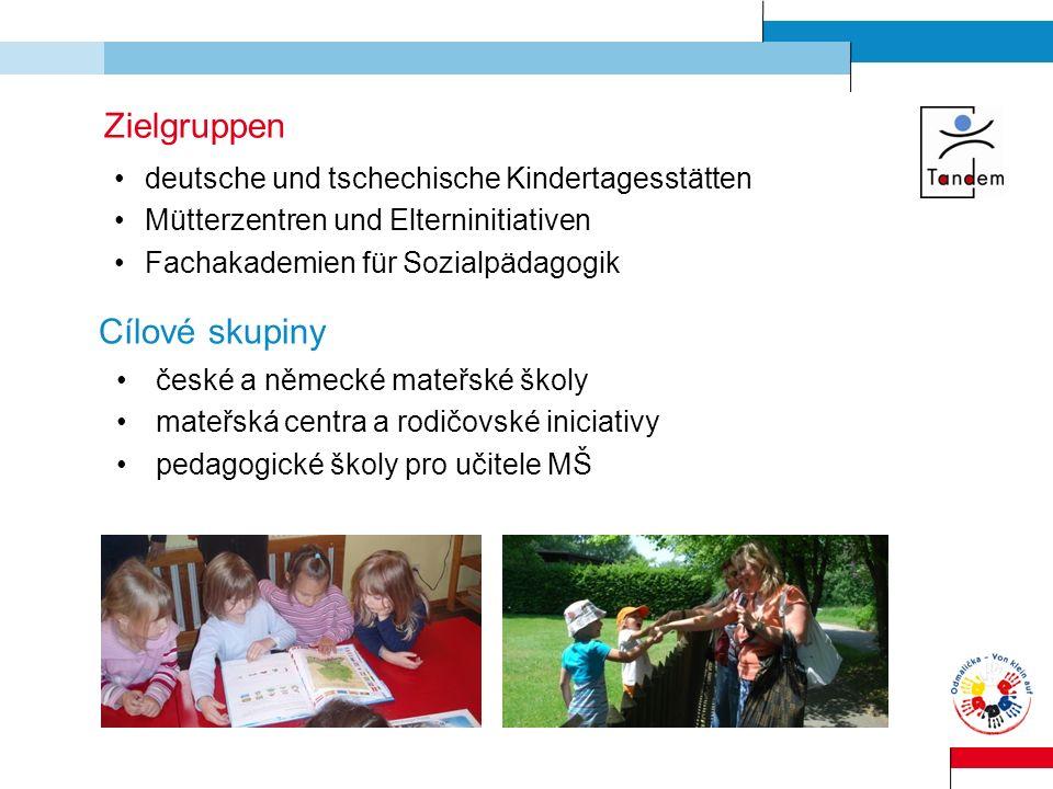 Zielgruppen deutsche und tschechische Kindertagesstätten Mütterzentren und Elterninitiativen Fachakademien für Sozialpädagogik Cílové skupiny české a