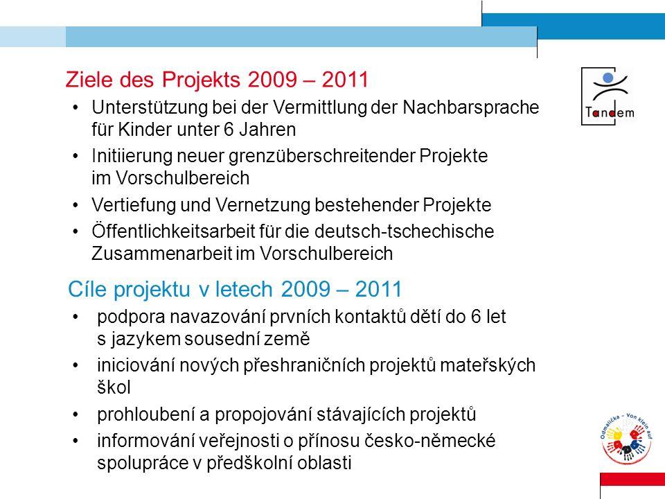 Ziele des Projekts 2009 – 2011 Unterstützung bei der Vermittlung der Nachbarsprache für Kinder unter 6 Jahren Initiierung neuer grenzüberschreitender