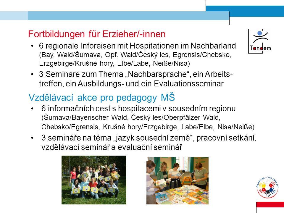 Fortbildungen für Erzieher/-innen 6 regionale Inforeisen mit Hospitationen im Nachbarland (Bay. Wald/Šumava, Opf. Wald/Český les, Egrensis/Chebsko, Er