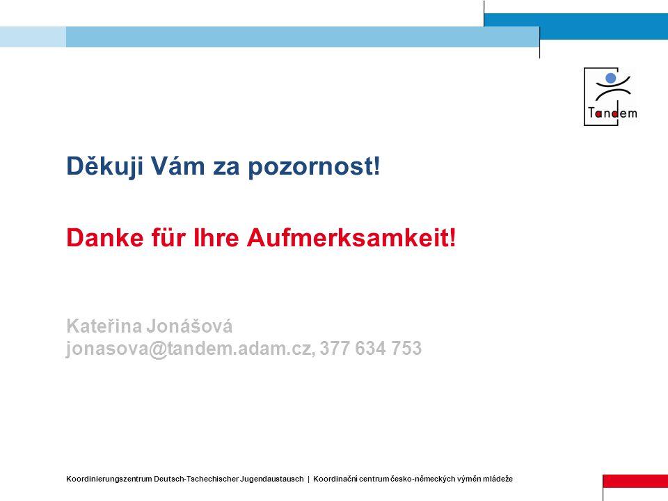 Děkuji Vám za pozornost! Danke für Ihre Aufmerksamkeit! Kateřina Jonášová jonasova@tandem.adam.cz, 377 634 753 Koordinierungszentrum Deutsch-Tschechis