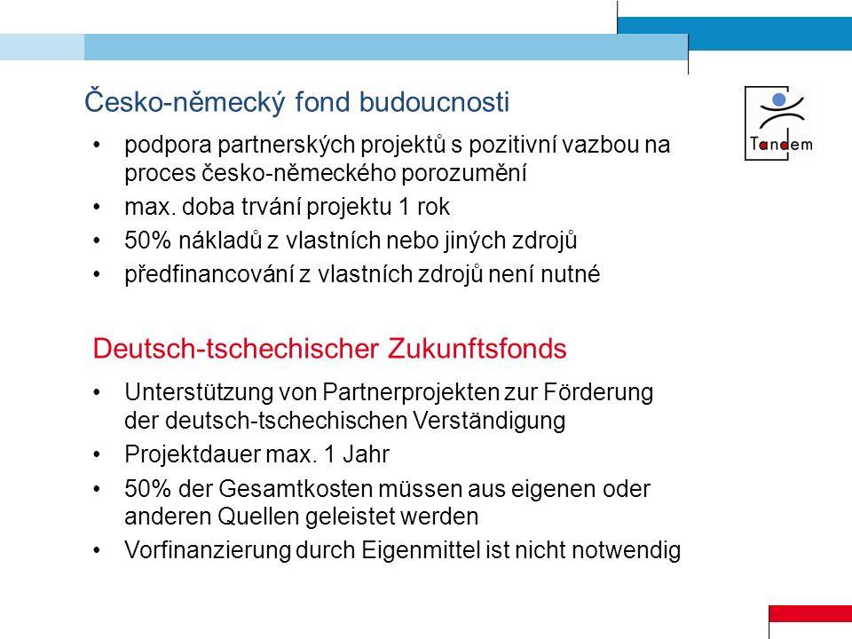 Česko-německý fond budoucnosti formulář žádosti nutno vyplnit česky a německy písemné potvrzení partnera o spolupráci termíny odevzdání žádostí: 31.