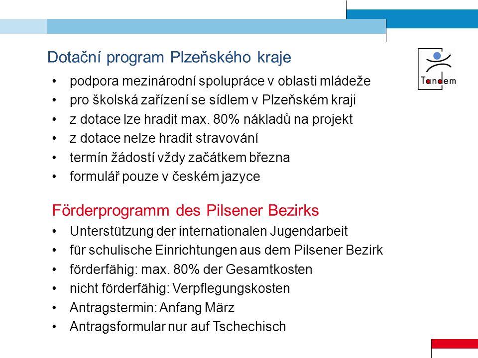 Dotační program Plzeňského kraje podpora mezinárodní spolupráce v oblasti mládeže pro školská zařízení se sídlem v Plzeňském kraji z dotace lze hradit