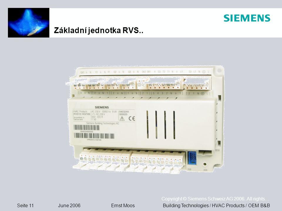 Seite 11 June 2006 Copyright © Siemens Schweiz AG 2006.
