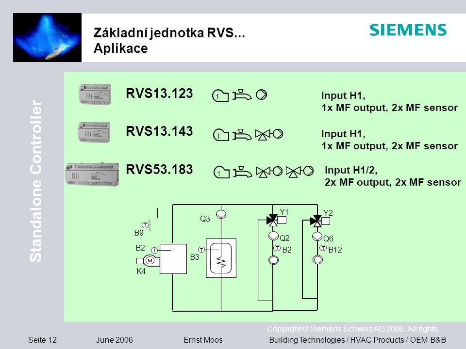 Seite 12 June 2006 Copyright © Siemens Schweiz AG 2006. All rights… Building Technologies / HVAC Products / OEM B&BErnst Moos Základní jednotka RVS...
