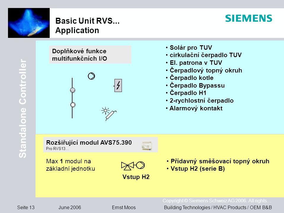Seite 13 June 2006 Copyright © Siemens Schweiz AG 2006. All rights… Building Technologies / HVAC Products / OEM B&BErnst Moos Basic Unit RVS... Applic