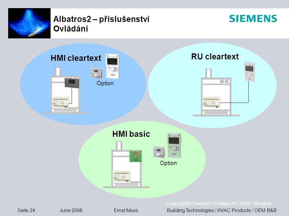Seite 24 June 2006 Copyright © Siemens Schweiz AG 2006. All rights… Building Technologies / HVAC Products / OEM B&BErnst Moos Albatros2 – příslušenstv