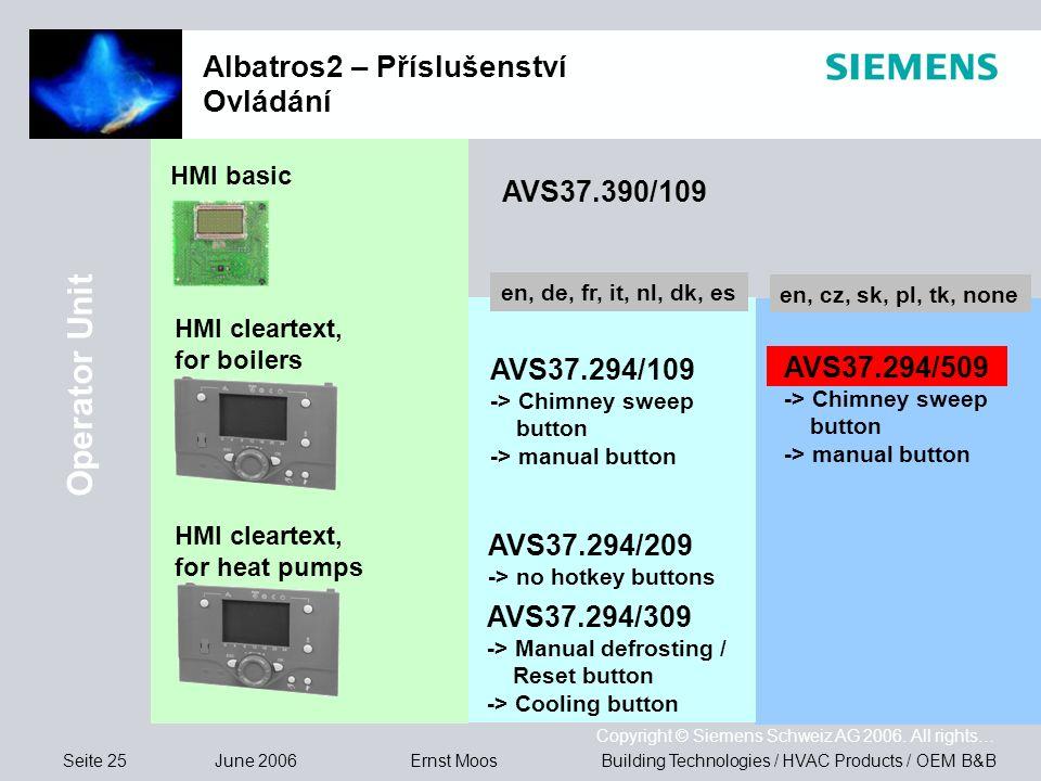 Seite 25 June 2006 Copyright © Siemens Schweiz AG 2006. All rights… Building Technologies / HVAC Products / OEM B&BErnst Moos Albatros2 – Příslušenstv