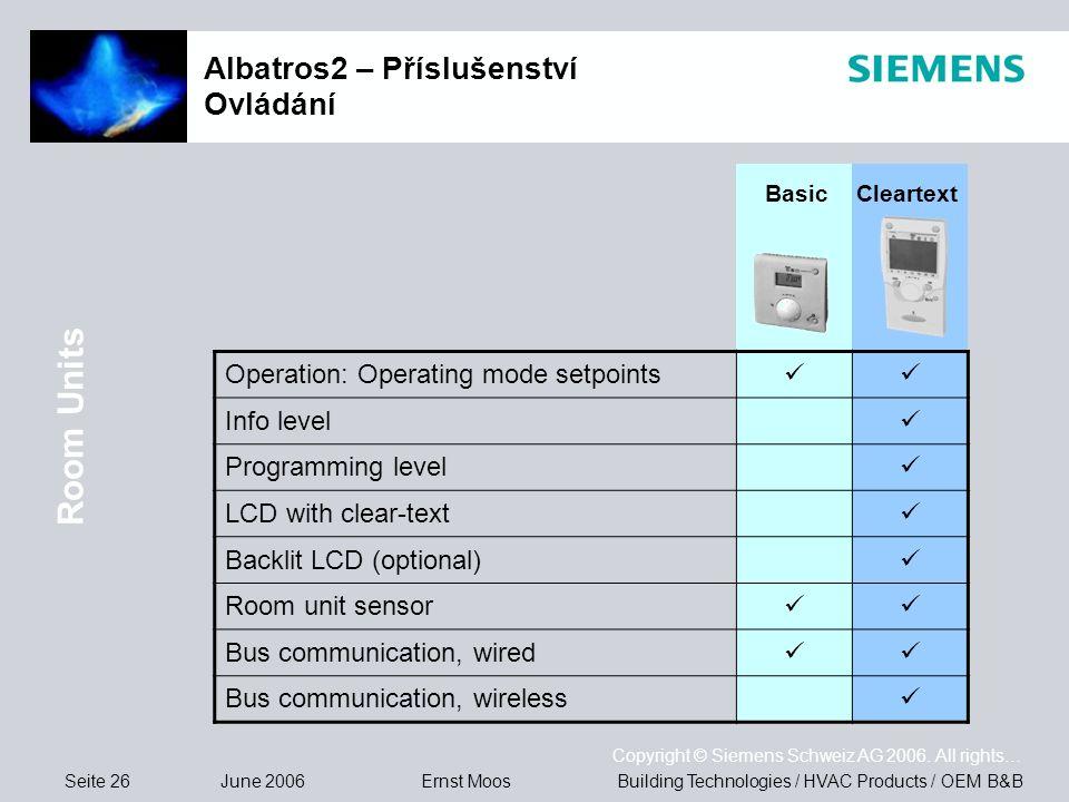 Seite 26 June 2006 Copyright © Siemens Schweiz AG 2006. All rights… Building Technologies / HVAC Products / OEM B&BErnst Moos Albatros2 – Příslušenstv