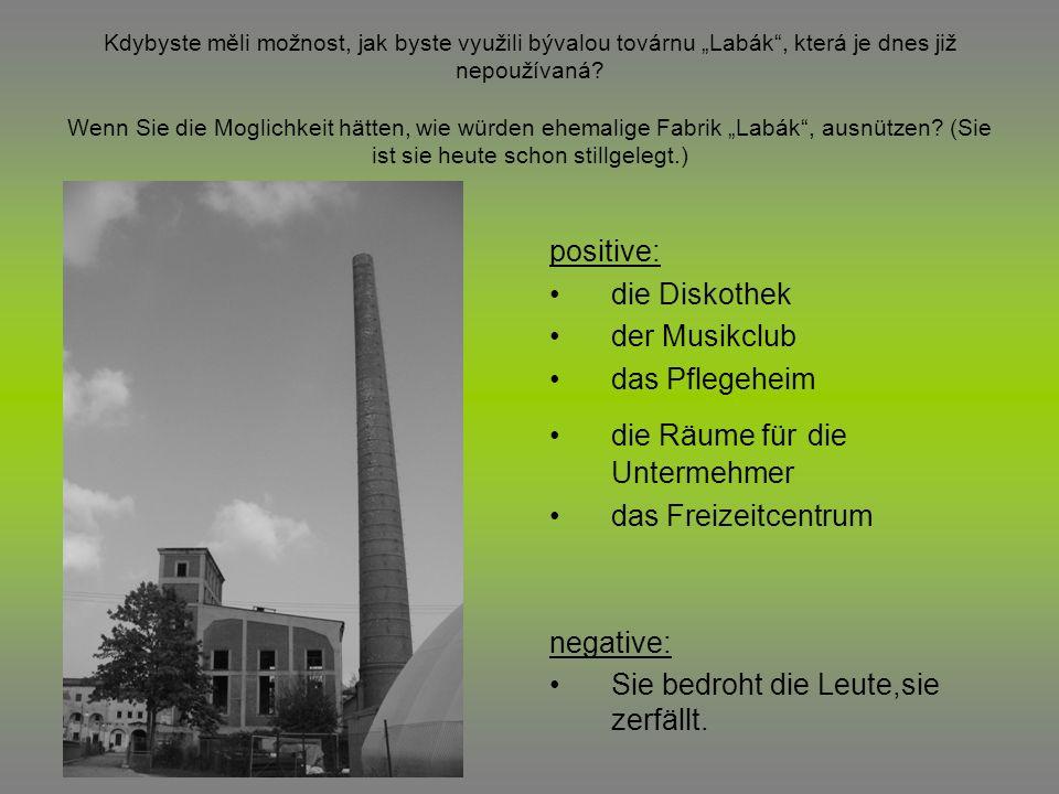 Kdybyste měli možnost, jak byste využili bývalou továrnu Labák, která je dnes již nepoužívaná? Wenn Sie die Moglichkeit hätten, wie würden ehemalige F