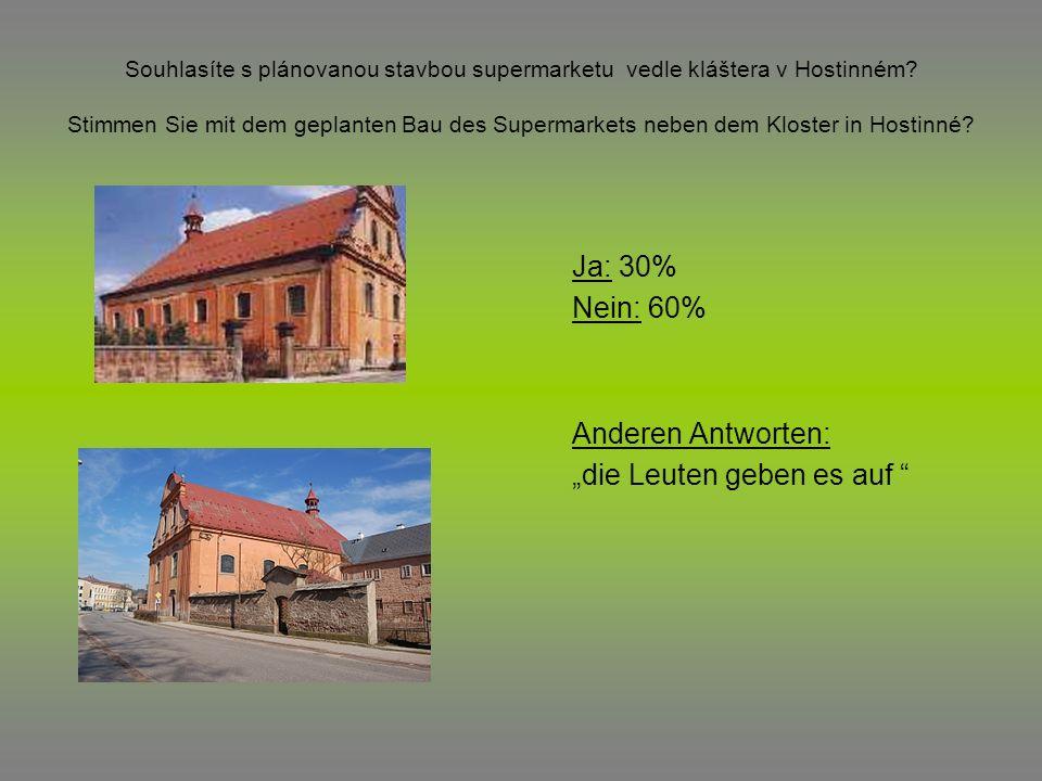 Souhlasíte s plánovanou stavbou supermarketu vedle kláštera v Hostinném? Stimmen Sie mit dem geplanten Bau des Supermarkets neben dem Kloster in Hosti