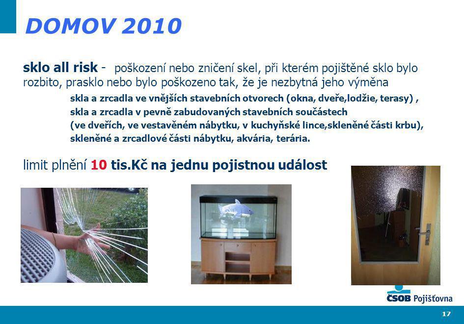 17 DOMOV 2010 sklo all risk - poškození nebo zničení skel, při kterém pojištěné sklo bylo rozbito, prasklo nebo bylo poškozeno tak, že je nezbytná jeh