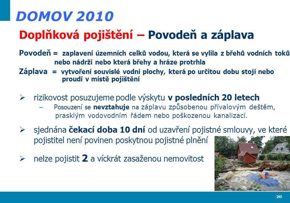 20 DOMOV 2010 Doplňková pojištění – Povodeň a záplava Povodeň = zaplavení územních celků vodou, která se vylila z břehů vodních toků nebo nádrží nebo