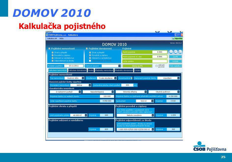 25 DOMOV 2010 Kalkulačka pojistného
