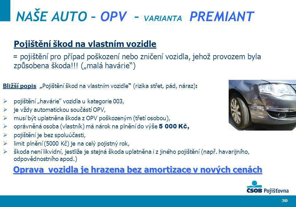 30 NAŠE AUTO – OPV – VARIANTA PREMIANT Pojištění škod na vlastním vozidle = pojištění pro případ poškození nebo zničení vozidla, jehož provozem byla z