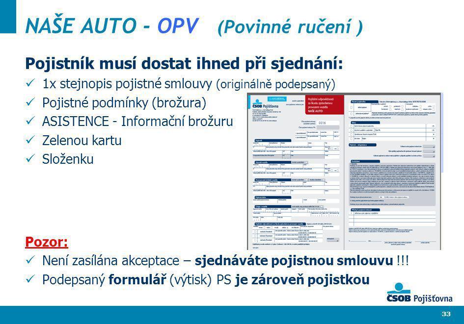 33 NAŠE AUTO - OPV (Povinné ručení ) Pojistník musí dostat ihned při sjednání: 1x stejnopis pojistné smlouvy (originálně podepsaný) Pojistné podmínky