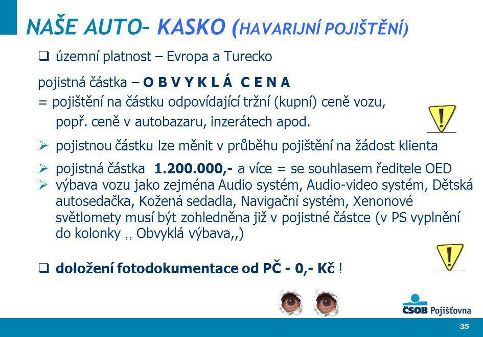 35 NAŠE AUTO– KASKO ( HAVARIJNÍ POJIŠTĚNÍ) územní platnost – Evropa a Turecko pojistná částka – O B V Y K L Á C E N A = pojištění na částku odpovídají