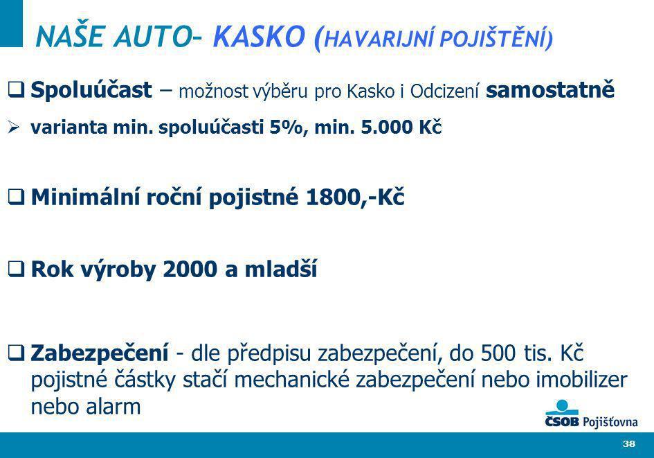 38 NAŠE AUTO– KASKO ( HAVARIJNÍ POJIŠTĚNÍ) Spoluúčast – možnost výběru pro Kasko i Odcizení samostatně varianta min. spoluúčasti 5%, min. 5.000 Kč Min