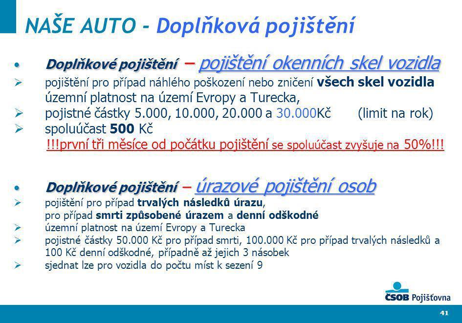 41 NAŠE AUTO - Doplňková pojištění Doplňkové pojištění – pojištění okenních skel vozidlaDoplňkové pojištění – pojištění okenních skel vozidla pojištěn