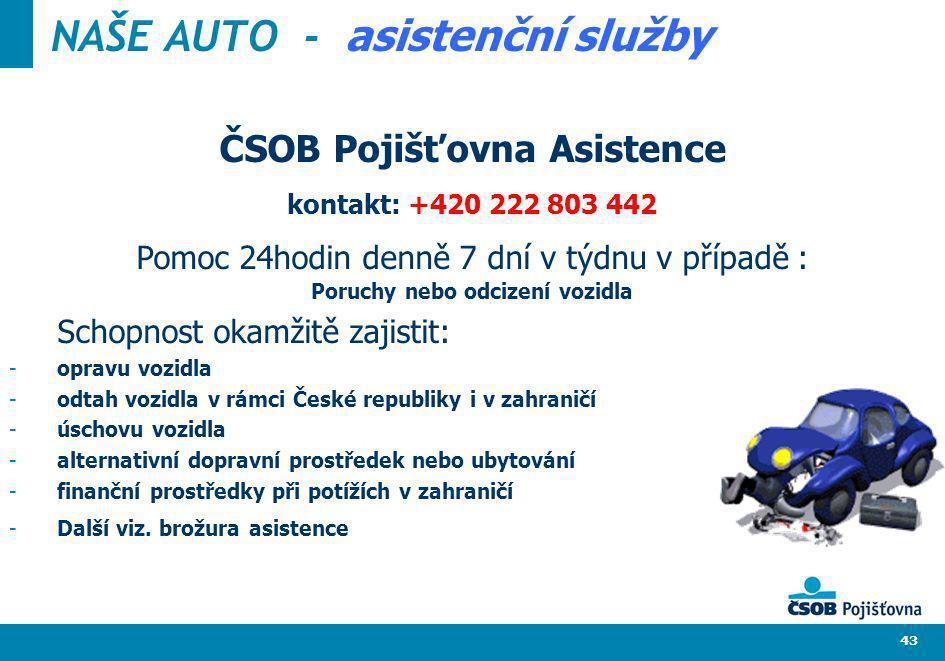 43 ČSOB Pojišťovna Asistence kontakt: +420 222 803 442 Pomoc 24hodin denně 7 dní v týdnu v případě : Poruchy nebo odcizení vozidla Schopnost okamžitě