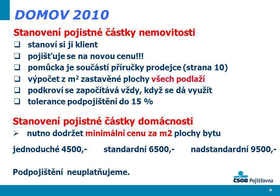 6 DOMOV 2010 Stanovení pojistné částky nemovitosti stanoví si ji klient pojišťuje se na novou cenu!!! pomůcka je součástí příručky prodejce (strana 10