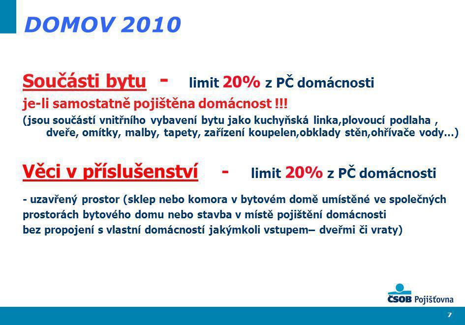 7 DOMOV 2010 Součásti bytu - limit 20% z PČ domácnosti je-li samostatně pojištěna domácnost !!! (jsou součástí vnitřního vybavení bytu jako kuchyňská