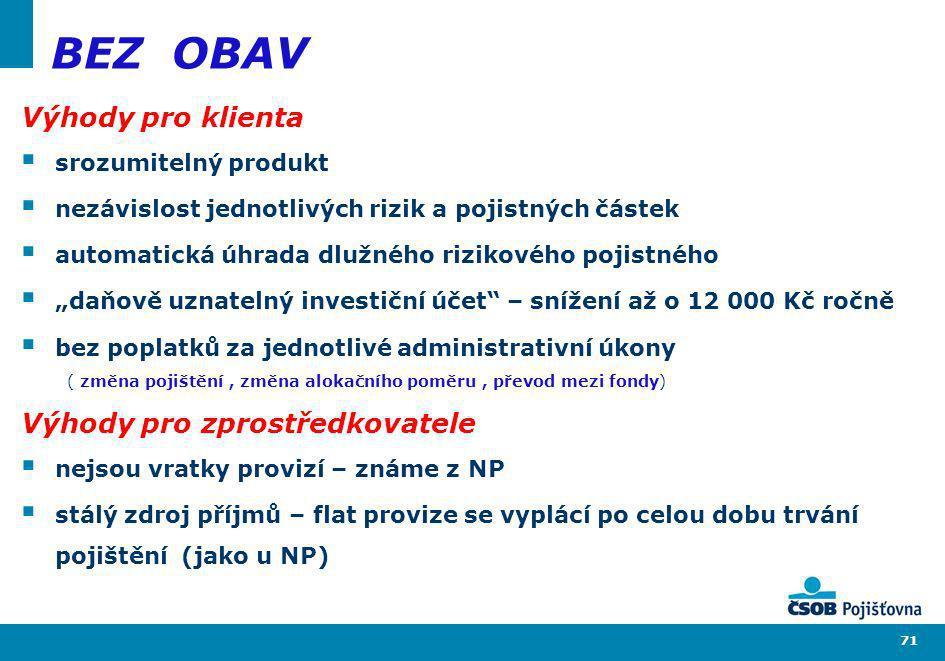 71 BEZ OBAV Výhody pro klienta srozumitelný produkt nezávislost jednotlivých rizik a pojistných částek automatická úhrada dlužného rizikového pojistné