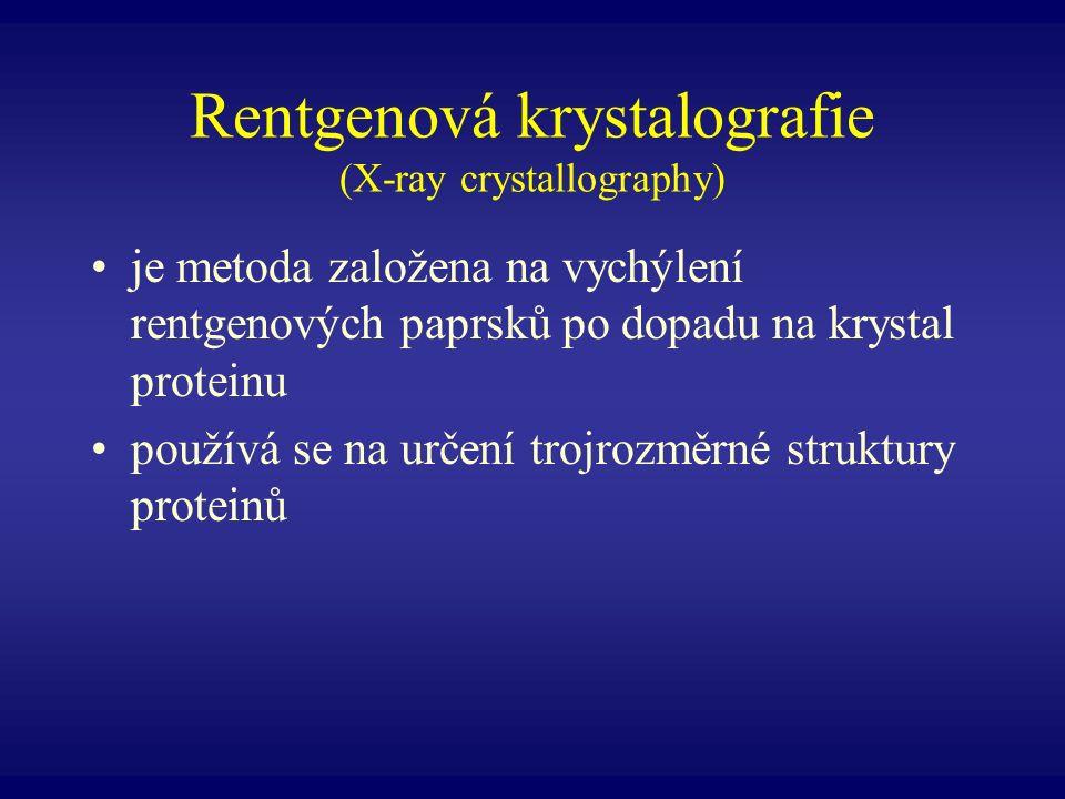 Rentgenová krystalografie (X-ray crystallography) je metoda založena na vychýlení rentgenových paprsků po dopadu na krystal proteinu používá se na urč
