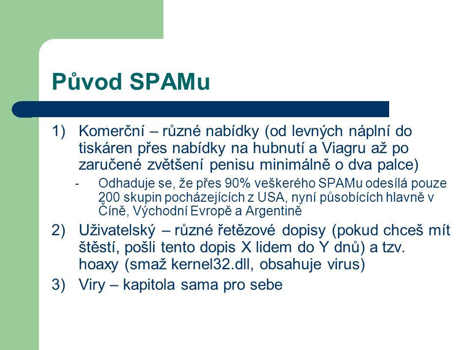 Původ SPAMu 1)Komerční – různé nabídky (od levných náplní do tiskáren přes nabídky na hubnutí a Viagru až po zaručené zvětšení penisu minimálně o dva
