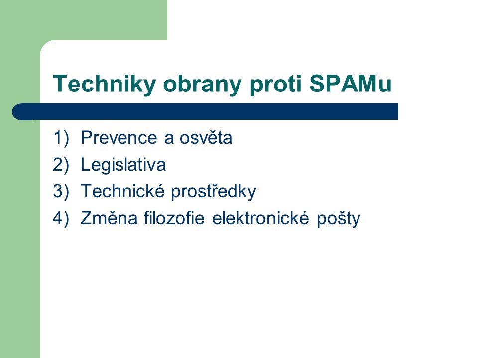 Techniky obrany proti SPAMu 1)Prevence a osvěta 2)Legislativa 3)Technické prostředky 4)Změna filozofie elektronické pošty