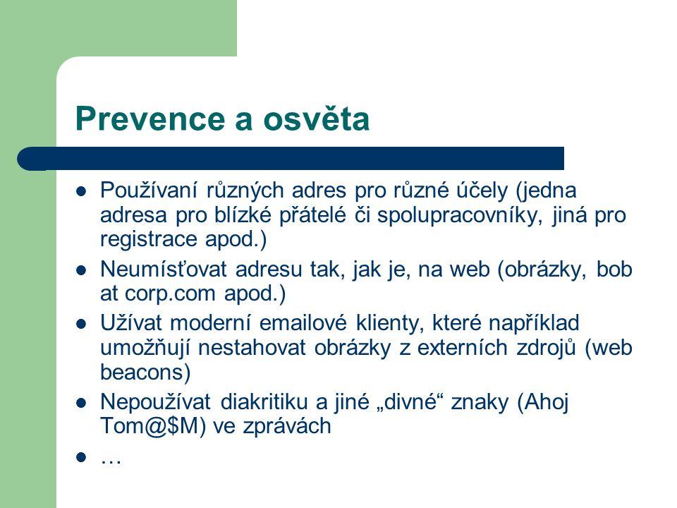 Prevence a osvěta Používaní různých adres pro různé účely (jedna adresa pro blízké přátelé či spolupracovníky, jiná pro registrace apod.) Neumísťovat