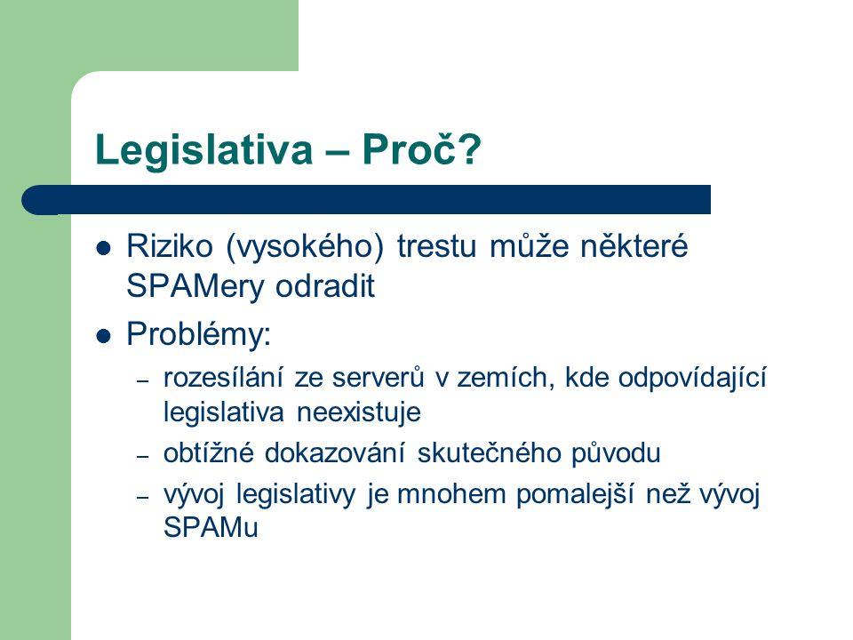 Legislativa – Proč? Riziko (vysokého) trestu může některé SPAMery odradit Problémy: – rozesílání ze serverů v zemích, kde odpovídající legislativa nee