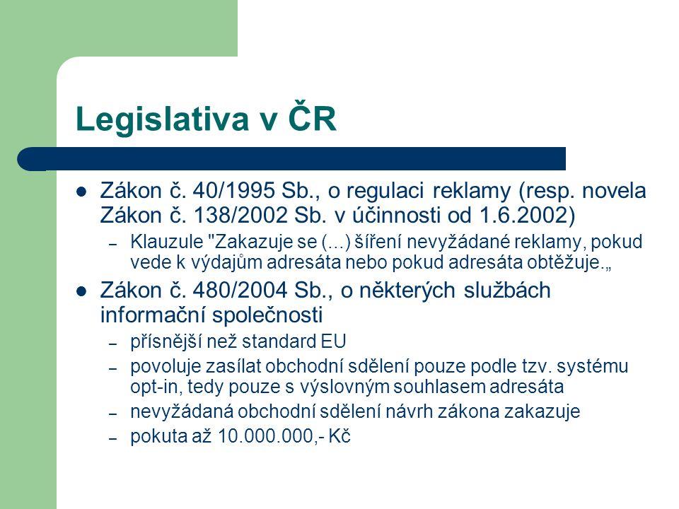 Legislativa v ČR Zákon č. 40/1995 Sb., o regulaci reklamy (resp. novela Zákon č. 138/2002 Sb. v účinnosti od 1.6.2002) – Klauzule