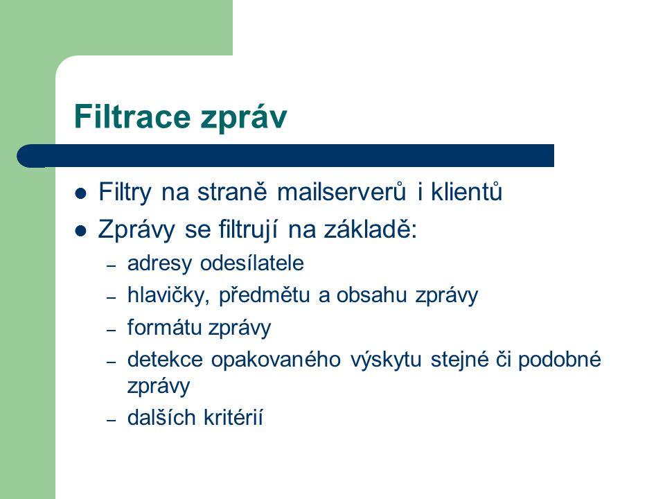 Filtrace zpráv Filtry na straně mailserverů i klientů Zprávy se filtrují na základě: – adresy odesílatele – hlavičky, předmětu a obsahu zprávy – formá
