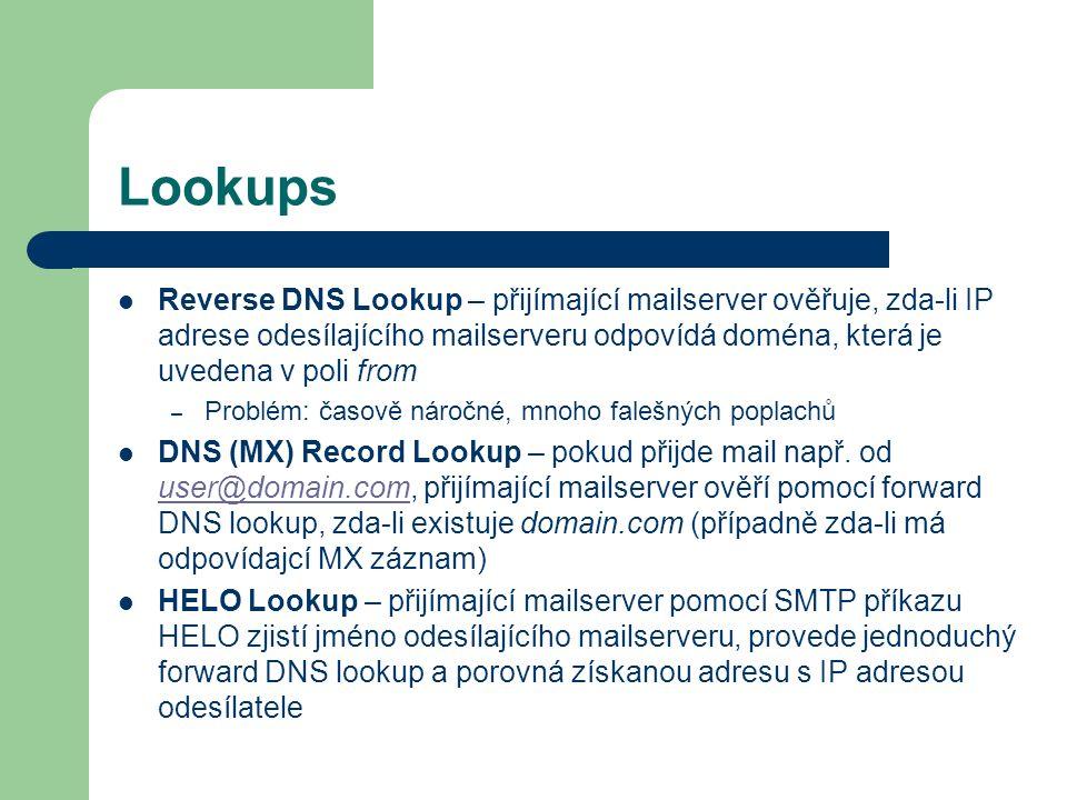 Lookups Reverse DNS Lookup – přijímající mailserver ověřuje, zda-li IP adrese odesílajícího mailserveru odpovídá doména, která je uvedena v poli from