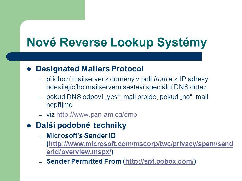 Nové Reverse Lookup Systémy Designated Mailers Protocol – příchozí mailserver z domény v poli from a z IP adresy odesílajícího mailserveru sestaví spe