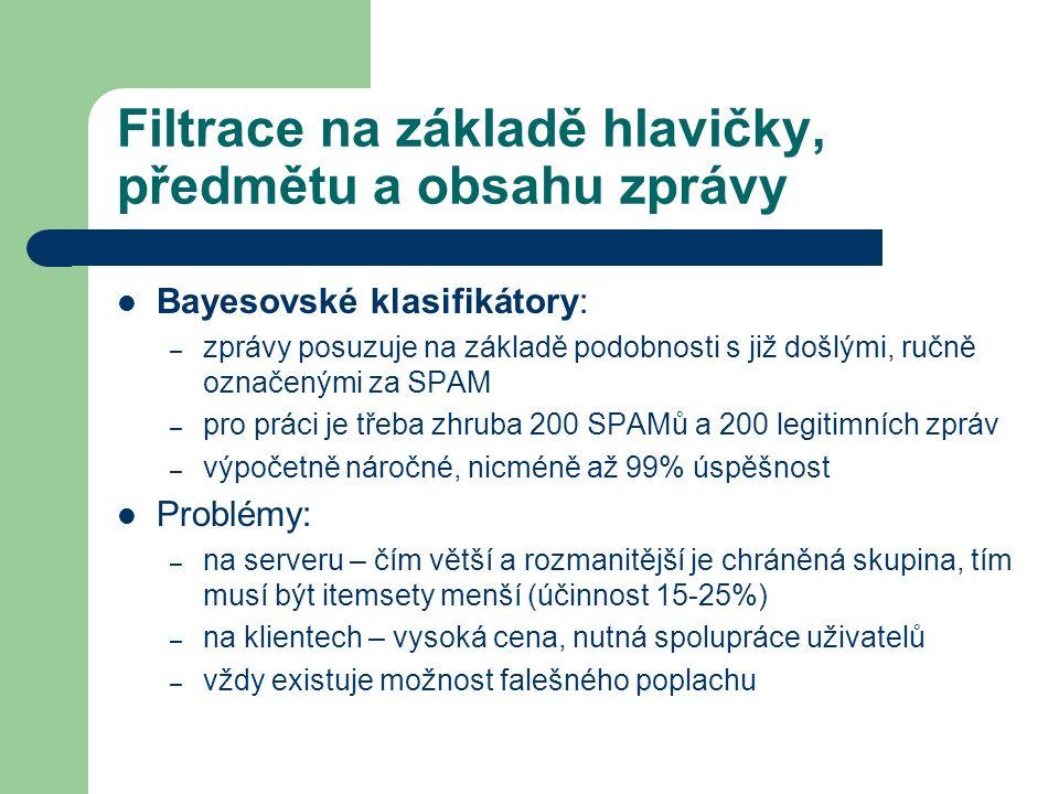 Filtrace na základě hlavičky, předmětu a obsahu zprávy Bayesovské klasifikátory: – zprávy posuzuje na základě podobnosti s již došlými, ručně označený