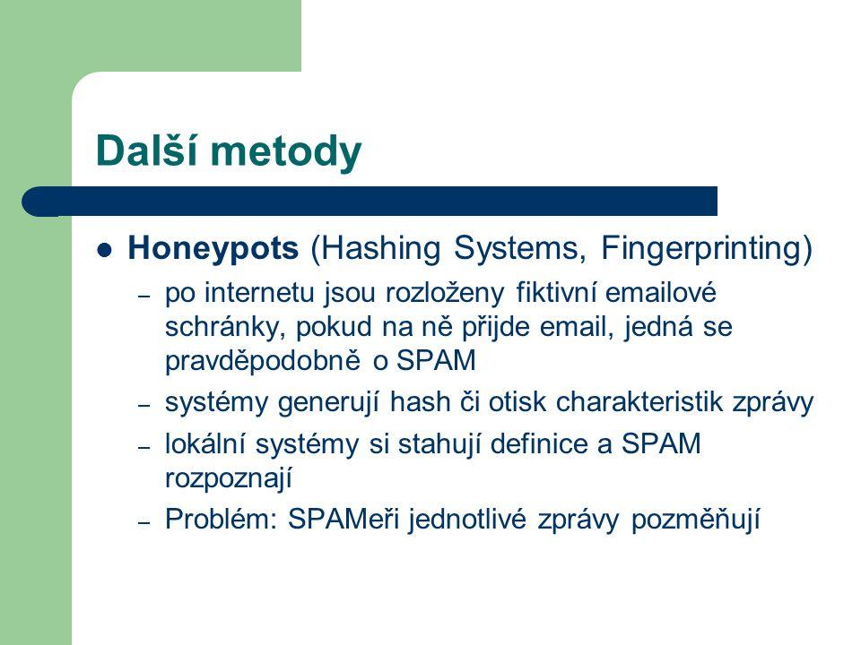 Další metody Honeypots (Hashing Systems, Fingerprinting) – po internetu jsou rozloženy fiktivní emailové schránky, pokud na ně přijde email, jedná se