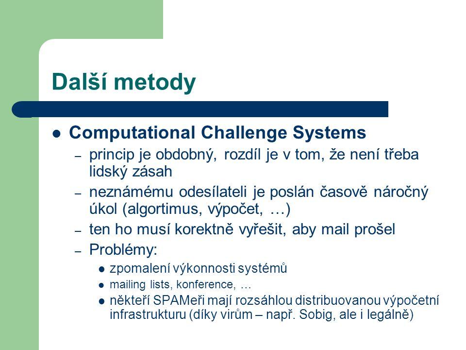 Další metody Computational Challenge Systems – princip je obdobný, rozdíl je v tom, že není třeba lidský zásah – neznámému odesílateli je poslán časov