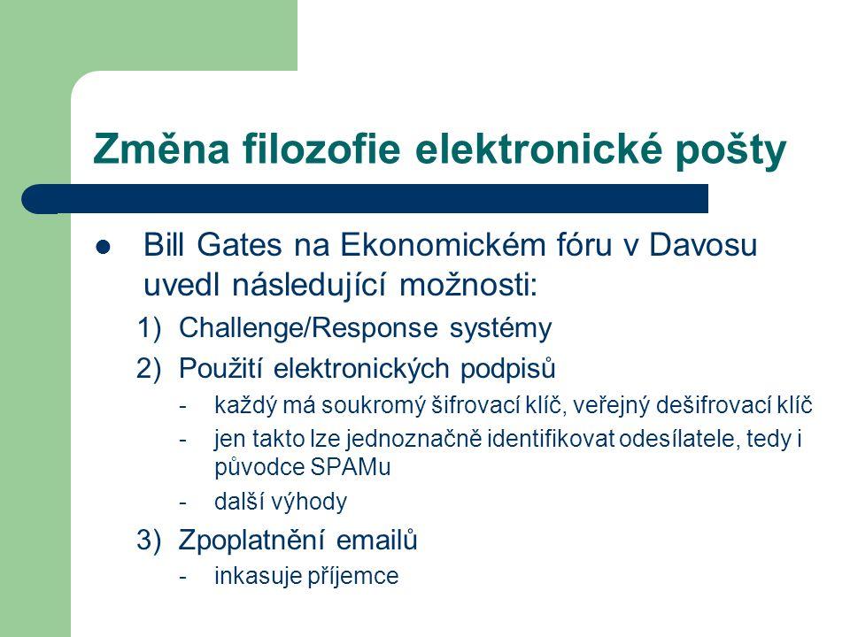 Změna filozofie elektronické pošty Bill Gates na Ekonomickém fóru v Davosu uvedl následující možnosti: 1)Challenge/Response systémy 2)Použití elektron