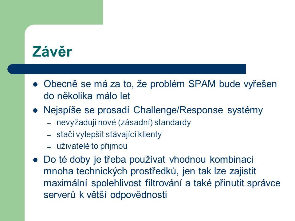 Závěr Obecně se má za to, že problém SPAM bude vyřešen do několika málo let Nejspíše se prosadí Challenge/Response systémy – nevyžadují nové (zásadní)