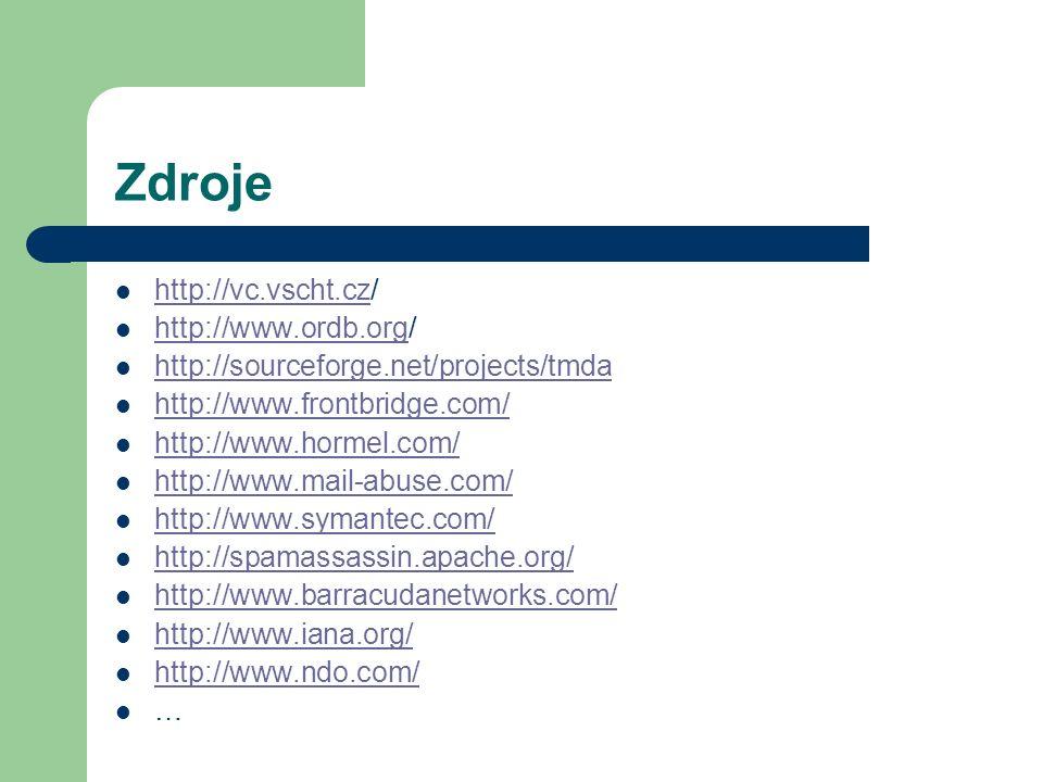 Zdroje http://vc.vscht.cz/ http://vc.vscht.cz http://www.ordb.org/ http://www.ordb.org http://sourceforge.net/projects/tmda http://www.frontbridge.com