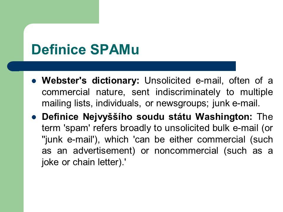 Další metody Computational Challenge Systems – princip je obdobný, rozdíl je v tom, že není třeba lidský zásah – neznámému odesílateli je poslán časově náročný úkol (algortimus, výpočet, …) – ten ho musí korektně vyřešit, aby mail prošel – Problémy: zpomalení výkonnosti systémů mailing lists, konference, … někteří SPAMeři mají rozsáhlou distribuovanou výpočetní infrastrukturu (díky virům – např.