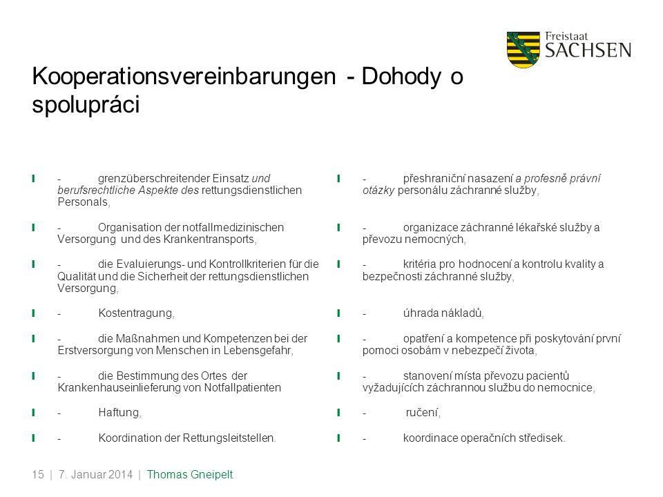 | 7. Januar 2014 | Thomas Gneipelt15 Kooperationsvereinbarungen - Dohody o spolupráci -grenzüberschreitender Einsatz und berufsrechtliche Aspekte des