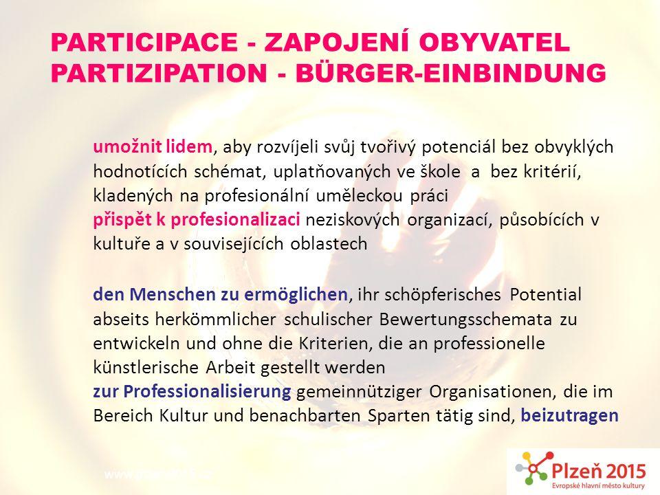 www.plzen2015.cz umožnit lidem, aby rozvíjeli svůj tvořivý potenciál bez obvyklých hodnotících schémat, uplatňovaných ve škole a bez kritérií, kladený