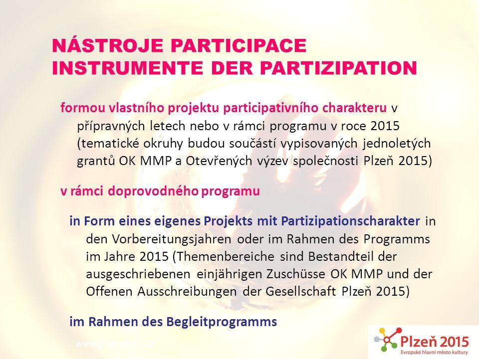 www.plzen2015.cz NÁSTROJE PARTICIPACE INSTRUMENTE DER PARTIZIPATION formou vlastního projektu participativního charakteru v přípravných letech nebo v