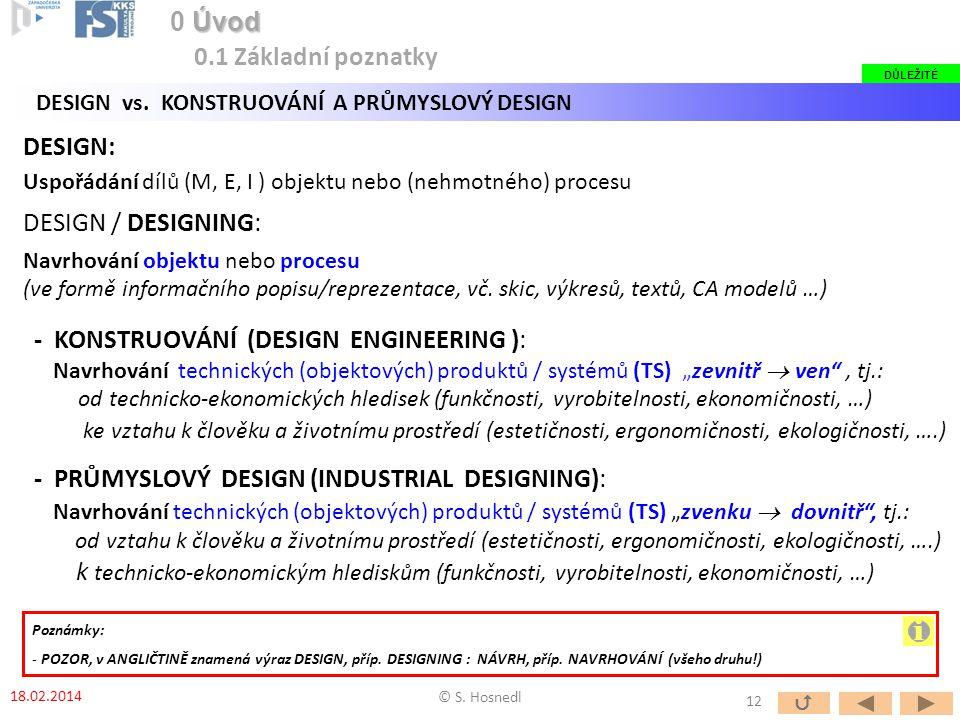 """- PRŮMYSLOVÝ DESIGN (INDUSTRIAL DESIGNING): Navrhování technických (objektových) produktů / systémů (TS) """"zvenku  dovnitř , tj.: od vztahu k člověku a životnímu prostředí (estetičnosti, ergonomičnosti, ekologičnosti, ….) k technicko-ekonomickým hlediskům (funkčnosti, vyrobitelnosti, ekonomičnosti, …) - KONSTRUOVÁNÍ (DESIGN ENGINEERING ): Navrhování technických (objektových) produktů / systémů (TS) """"zevnitř  ven , tj.: od technicko-ekonomických hledisek (funkčnosti, vyrobitelnosti, ekonomičnosti, …) ke vztahu k člověku a životnímu prostředí (estetičnosti, ergonomičnosti, ekologičnosti, ….) DESIGN: Uspořádání dílů (M, E, I ) objektu nebo (nehmotného) procesu DESIGN / DESIGNING: Navrhování objektu nebo procesu (ve formě informačního popisu/reprezentace, vč."""