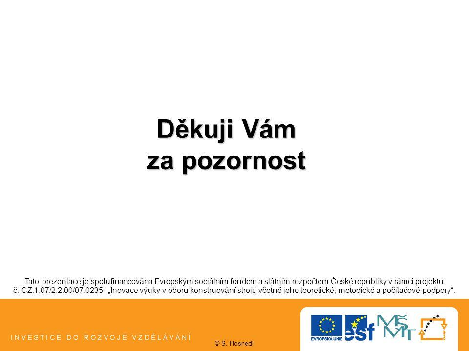 Děkuji Vám za pozornost Tato prezentace je spolufinancována Evropským sociálním fondem a státním rozpočtem České republiky v rámci projektu č.